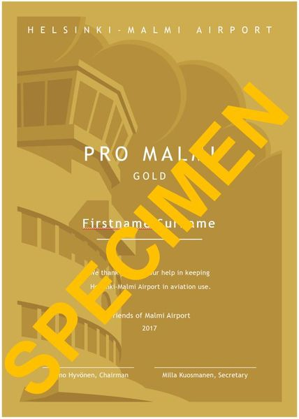 Pro Malmi Certificate of Support - GOLD